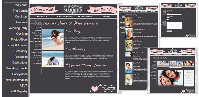 Honeymoon Registry Wedding Website - Single Page - FREE